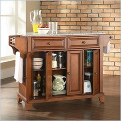 Crosley Furniture Newport Solid Granite Top Kitchen Island in Classic Cherry Finish