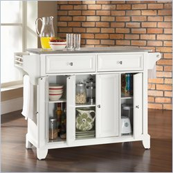 Crosley Furniture Newport Stainless Steel Top Kitchen Island in White Finish
