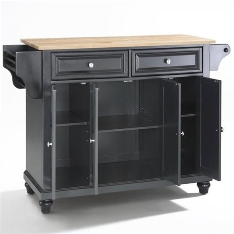 Cambridge Natural Wood Top Kitchen Island in Black Finish