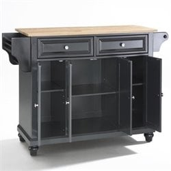 Crosley Furniture Cambridge Natural Wood Top Kitchen Island in Black Finish