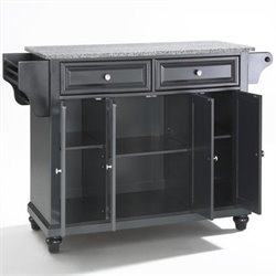 Crosley Furniture Cambridge Solid Granite Top Kitchen Island in Black Finish