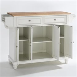 Crosley Furniture Cambridge Natural Wood Top Kitchen Island in White