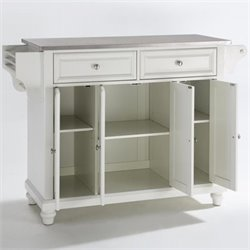 Crosley Furniture Cambridge Stainless Steel Top Kitchen Island in White Finish