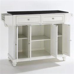 Crosley Furniture Cambridge Solid Black Granite Top Kitchen Island in White Finish