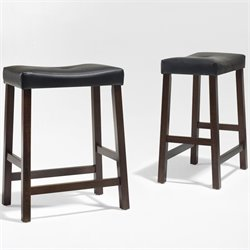 Upholstered Saddle Seat Bar Stool in Vintage Mahogany