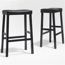 Upholstered Saddle Seat Bar Stool in Black