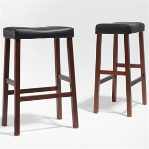 Upholstered Saddle Seat Bar Stool in Classic Cherry