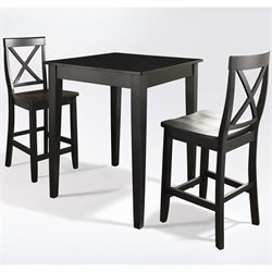 Crosley Furniture 3 Piece Pub Dining Set with Tapered Leg and X-Back Stools in Black Finish