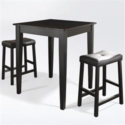 Crosley Furniture 3 Piece Pub Set with Upholstered Saddle Stools in Black