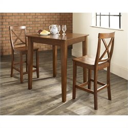 Crosley Furniture 3 Piece Pub Dining Set with Tapered Leg and X-Back Stools in Classic Cherry Finish
