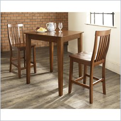 Crosley Furniture 3 Piece Pub Dining Set with Tapered Leg and School House Stools in Classic Cherry
