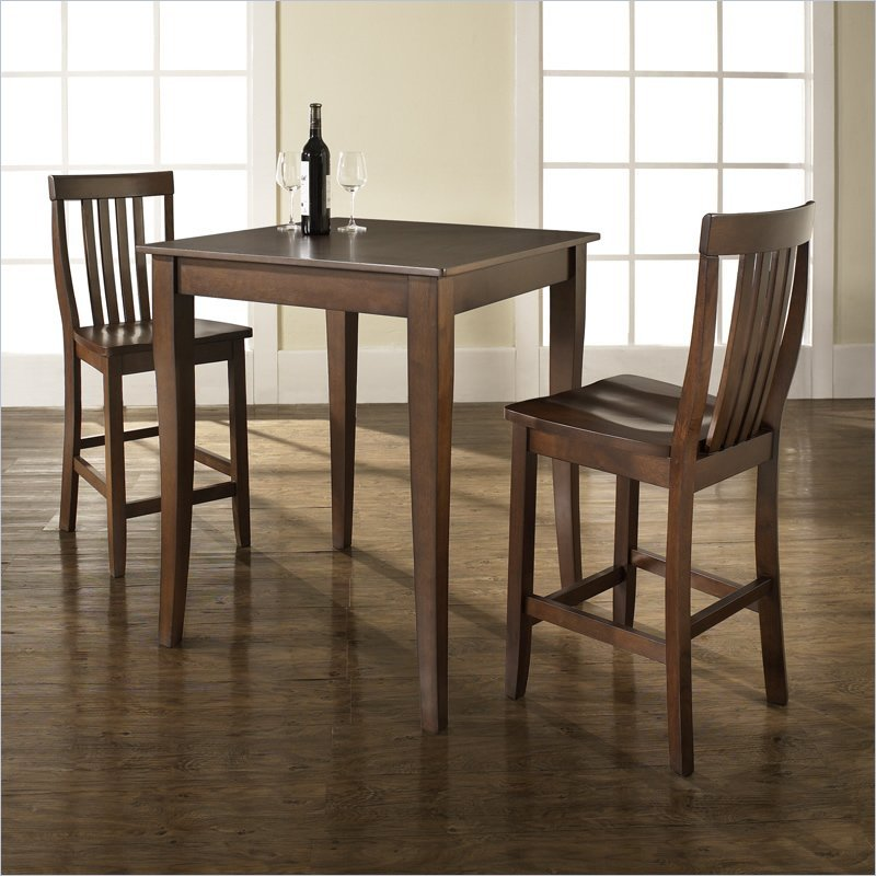 3 Piece Pub Dining Set with Cabriole Leg and School House Stools in Vintage Mahogany Finish