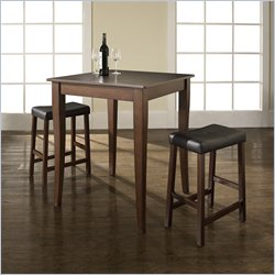 Crosley Furniture 3 Piece Pub Set with Upholstered Saddle Stools in Vintage Mahogany
