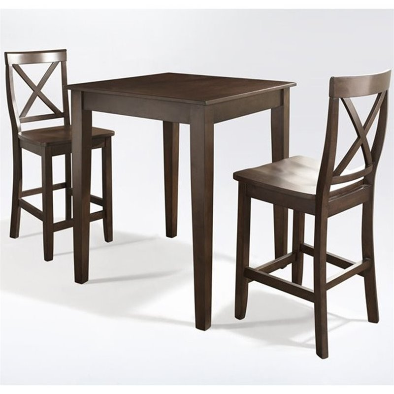 3 Piece Pub Dining Set with Tapered Leg and X-Back Stools in Vintage Mahogany Finish