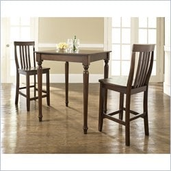 Crosley Furniture 3 Piece Pub Dining Set with Turned Leg and School House Stools in Vintage Mahogany Finish