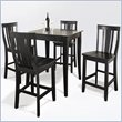 5 Piece Pub Dining Set with Cabriole Leg and Shield Back Stools in Black Finish