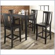 Crosley Furniture 5 Piece Pub Dining Set with Tapered Leg and Shield Back Stools in Black Finish