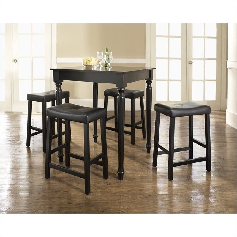 5 Piece Pub Dining Set with Turned Leg and Upholstered Saddle Stools in Black Finish