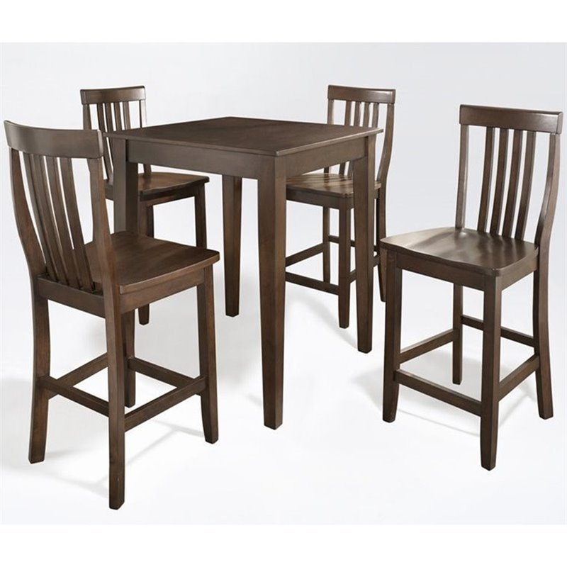 Crosley Furniture 5 Piece Pub Set with School House Stools in Vintage Mahogany