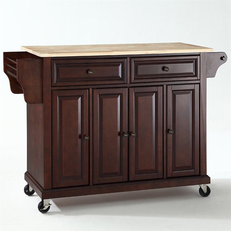Crosley Furniture Natural Wood Top Kitchen Cart in Mahogany