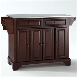 Crosley Furniture LaFayette Stainless Steel Top Kitchen Island in Mahogany