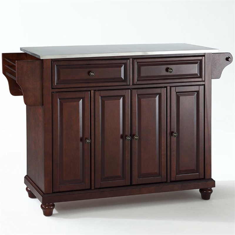 Crosley Furniture Cambridge Stainless Steel Top Mahogany Kitchen Island