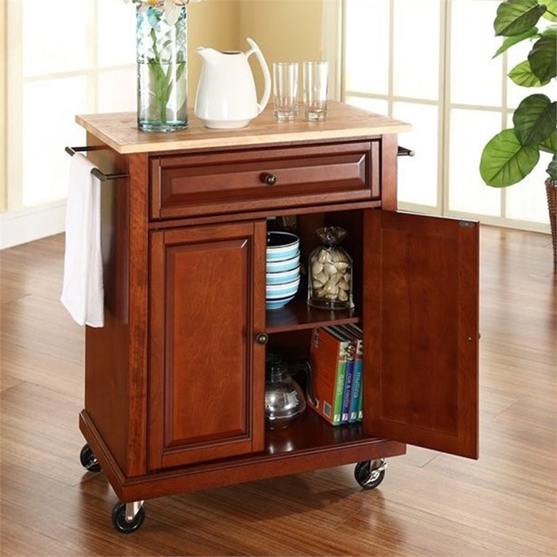 Crosley Furniture Natural Wood Top Classic Cherry Kitchen Cart