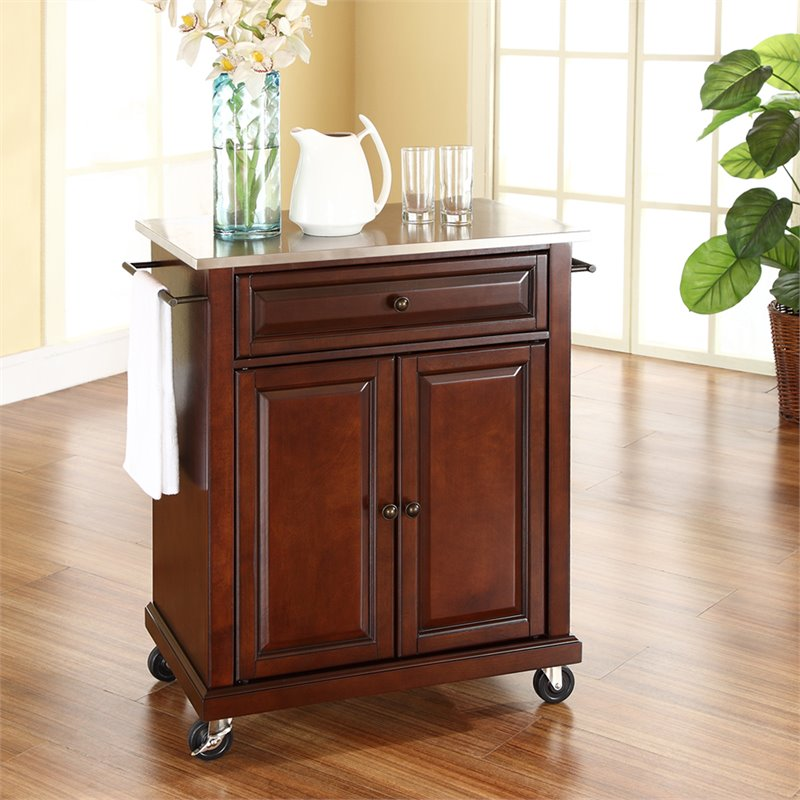 Crosley Furniture Stainless Steel Top Kitchen Cart in Mahogany