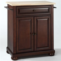 Crosley Furniture Alexandria Natural Wood Top Mahogany Kitchen Island