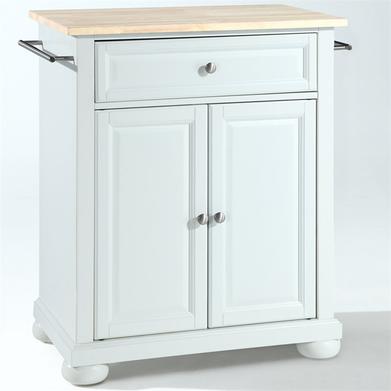 Alexandria Natural Wood Top Kitchen Island in White
