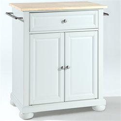Crosley Furniture Alexandria Natural Wood Top Kitchen Island in White