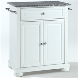 Crosley Furniture Alexandria Solid Granite Top Kitchen Island in White