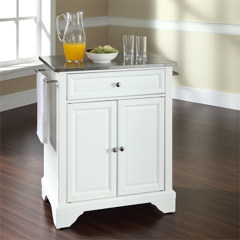 Crosley Furniture LaFayette Stainless Steel Top White Kitchen Island