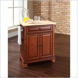 Crosley Furniture Newport Natural Wood Top Kitchen Island in Cherry