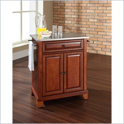Crosley Furniture Newport Stainless Steel Top Kitchen Island in Cherry