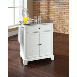 Crosley Furniture Newport Stainless Steel Top Kitchen Island in White