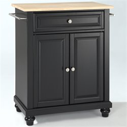 Crosley Furniture Cambridge Natural Wood Top Kitchen Island in Black