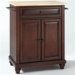 Crosley Furniture Cambridge Natural Wood Top Mahogany Kitchen Island