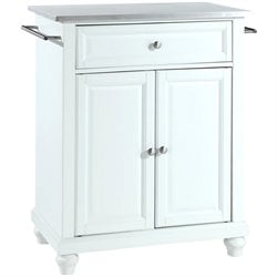 Crosley Furniture Cambridge Stainless Steel Top White Kitchen Island