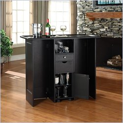 Crosley Mobile Folding Home Bar in Black Finish
