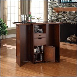 Crosley Mobile Folding Home Bar in Vintage Mahogany Finish