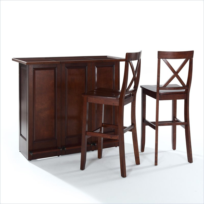 Crosley Mobile Folding Home Bar In Vintage Mahogany With