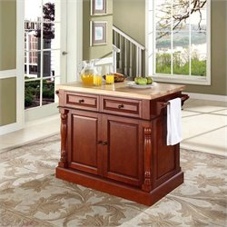 Crosley Oxford Kitchen Island Butcher Block in Classic Cherry