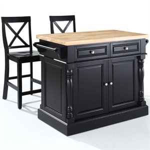 Crosley Oxford Butcher Block Top Kitchen Island with Stools (C)