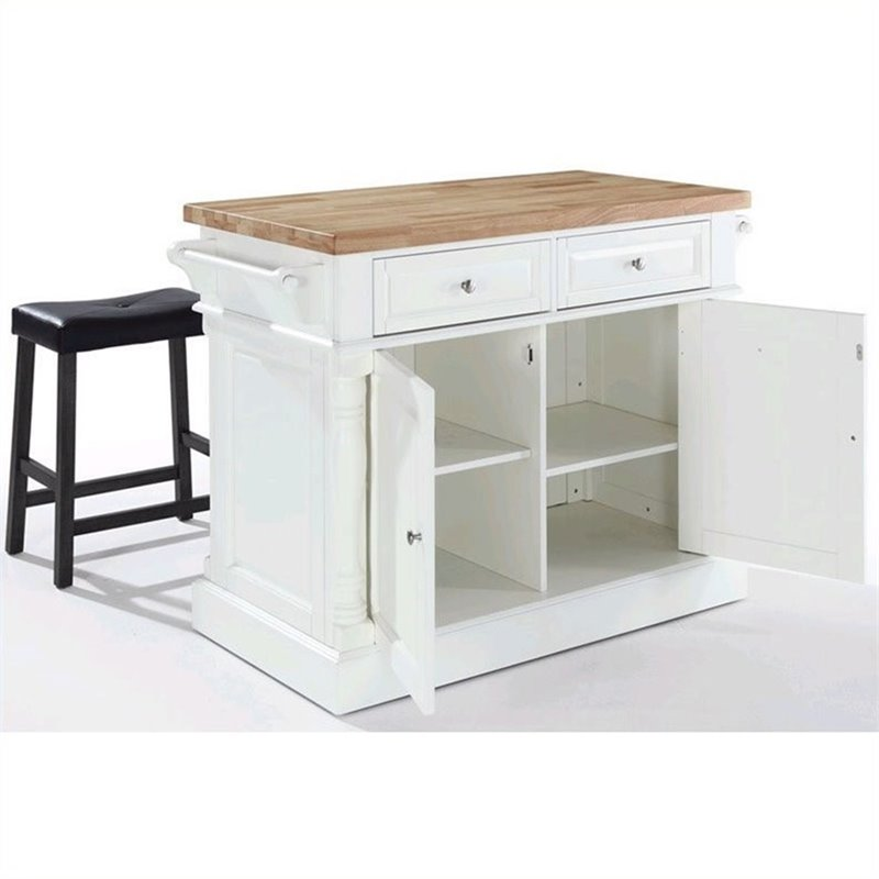 Crosley Oxford Butcher Block Top Kitchen Island with Saddle Stools in White