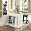 Crosley Oxford Butcher Block Top Kitchen Island with Saddle Stool - KF300064WH