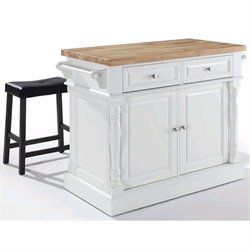Crosley Oxford Butcher Block Top Kitchen Island in White with 2 Stools