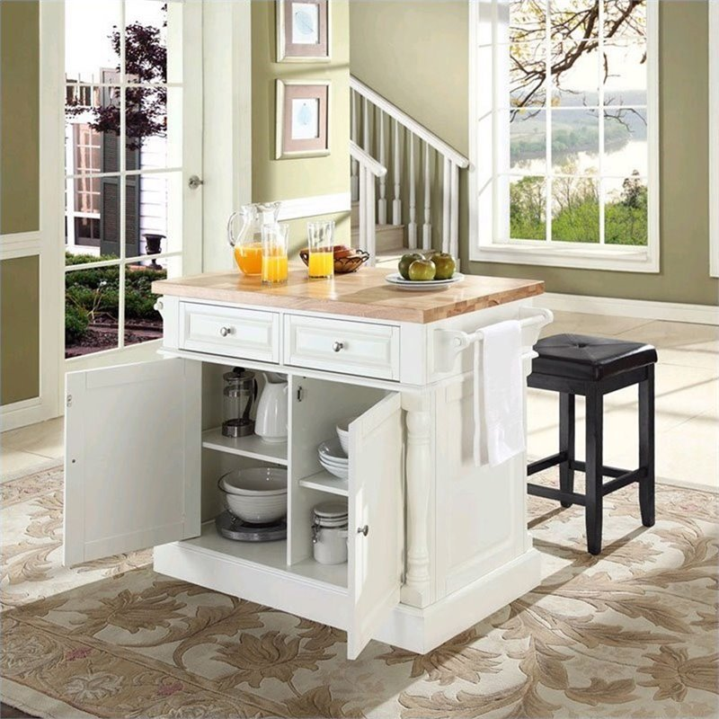 crosley oxford butcher block kitchen island with stools in