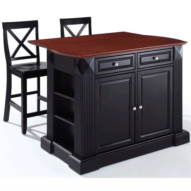 Crosley Furniture Coventry Drop Leaf Breakfast Bar Kitchen Island With Stools In Black Kf300073bk