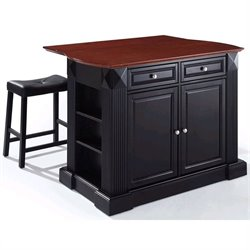 Crosley Furniture Coventry Drop Leaf Breakfast Bar Kitchen Island with Stools in Black